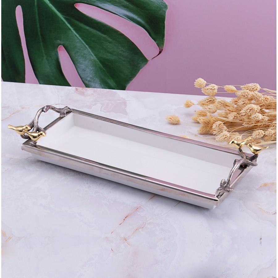 PR78-1008 - Altın Kuşlu Metal Çerçeveli Dikdörtgen Servis 41*3