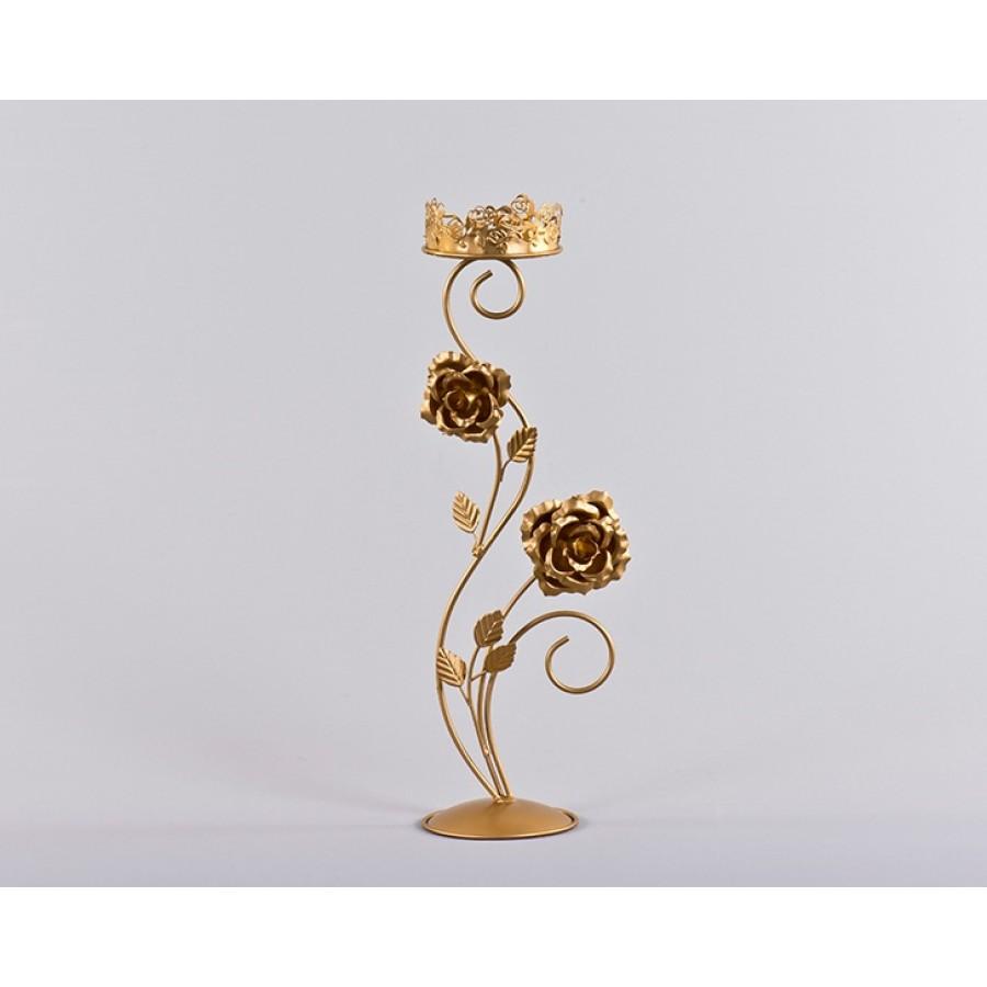 AHD-1098 - Çiçekli Altın Mumluk 50*14