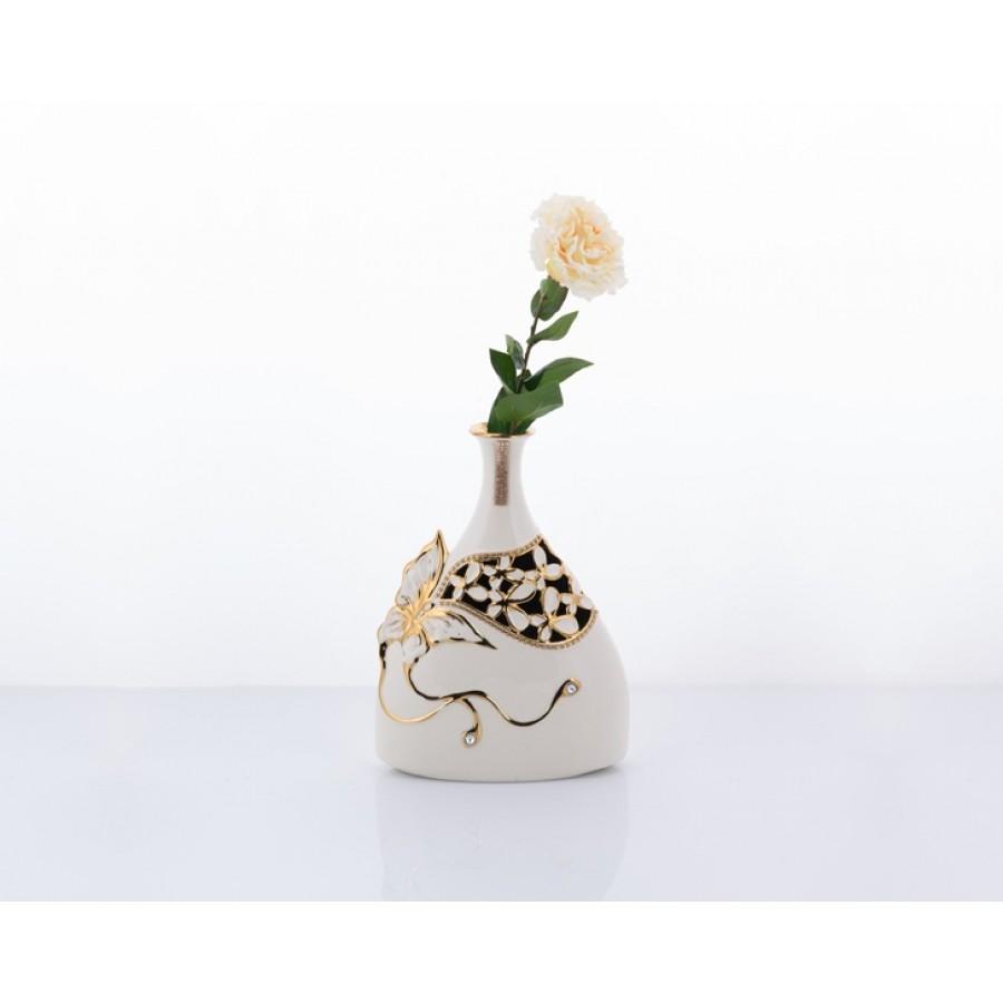 AHD-1129 - Beyaz-Altın Kelebekli Vazo Kısa 33*24