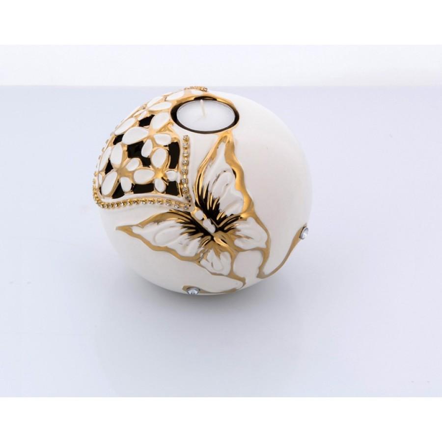 AHD-1134 - Beyaz-Altın Kelebekli Çiçekli Mumluk Orta Boy 11*1