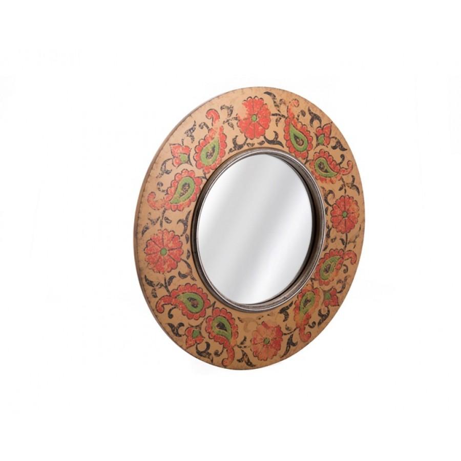 AHD-1411 - Kahve - Kırmızı Yuvarlak Eskitme Ayna 62*63