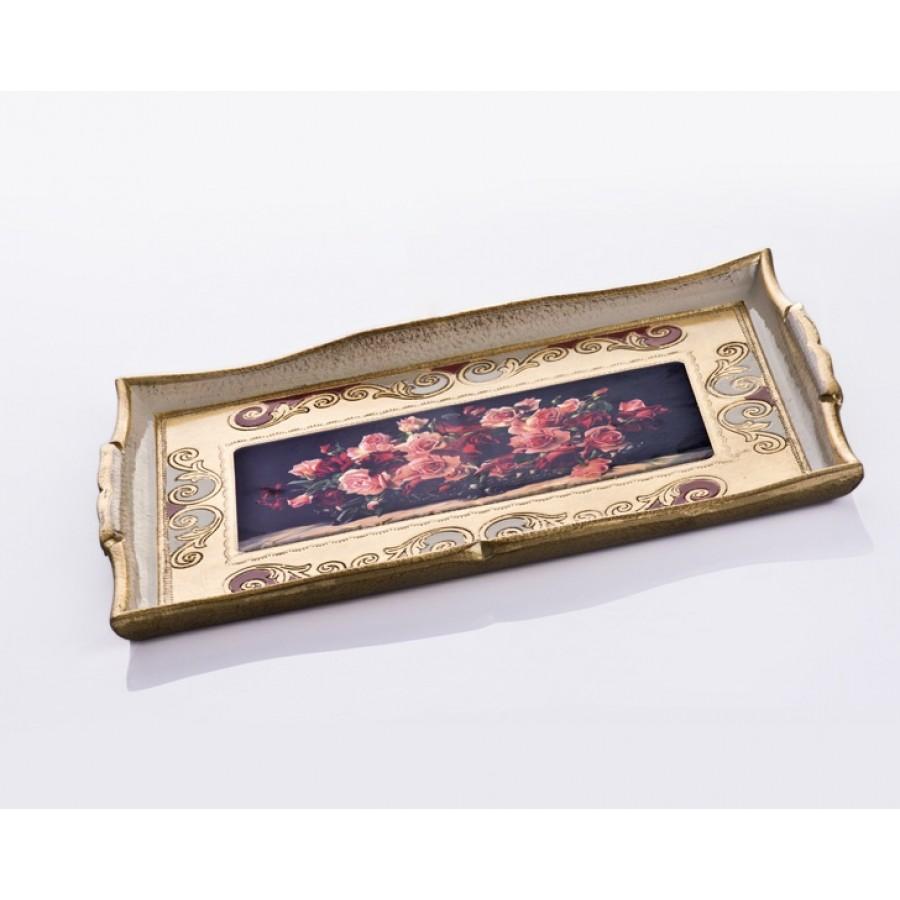 AHD-1830 - Altın Varaklı Kırmızı-Pembe Gül Resimli Tepsi 39*2
