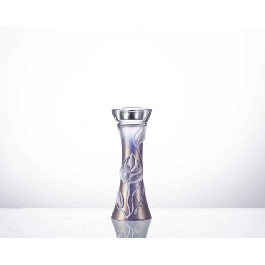 AHD-40149 - Lila Çiçekli K.Mumluk 25cm.