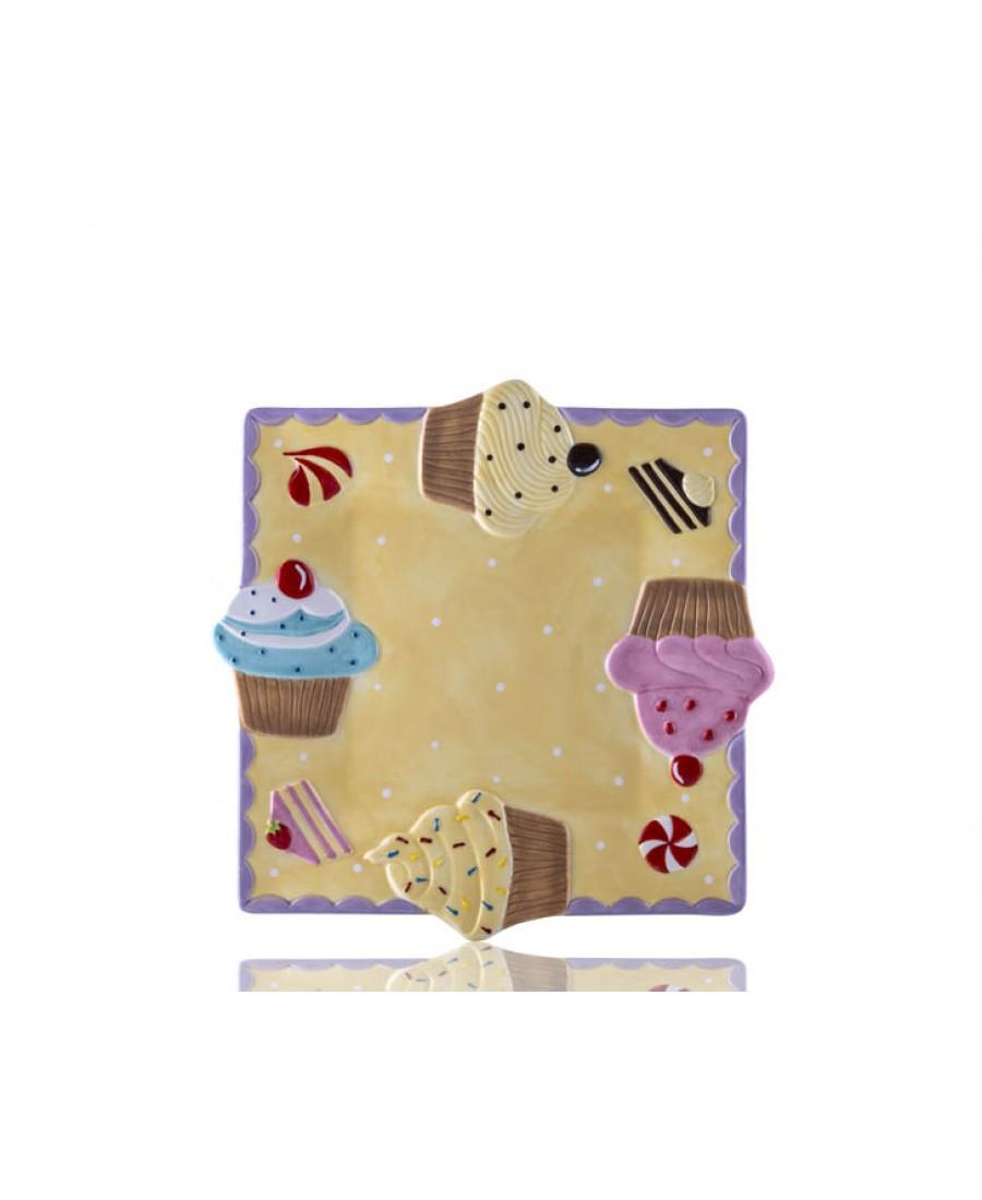 M53-123 - Puantiyeli Sarı Kare Cupcake Tabak
