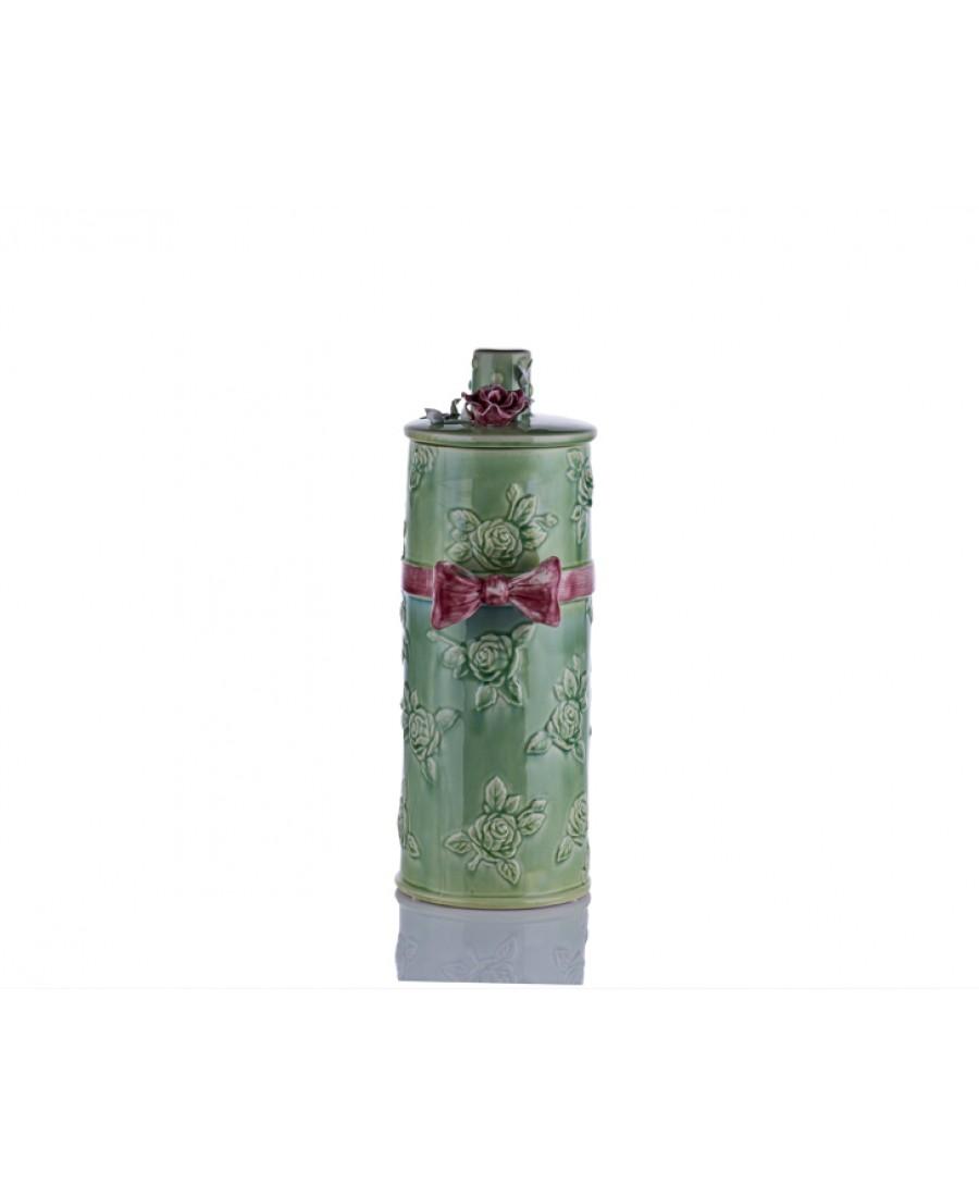 M70-113 - Kapağı Çiçekli Yeşil Vazo