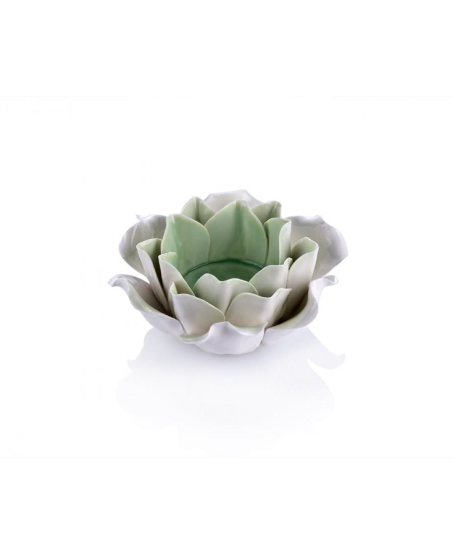 M70-130 - Yeşil-Beyaz Çiçek Mumluk