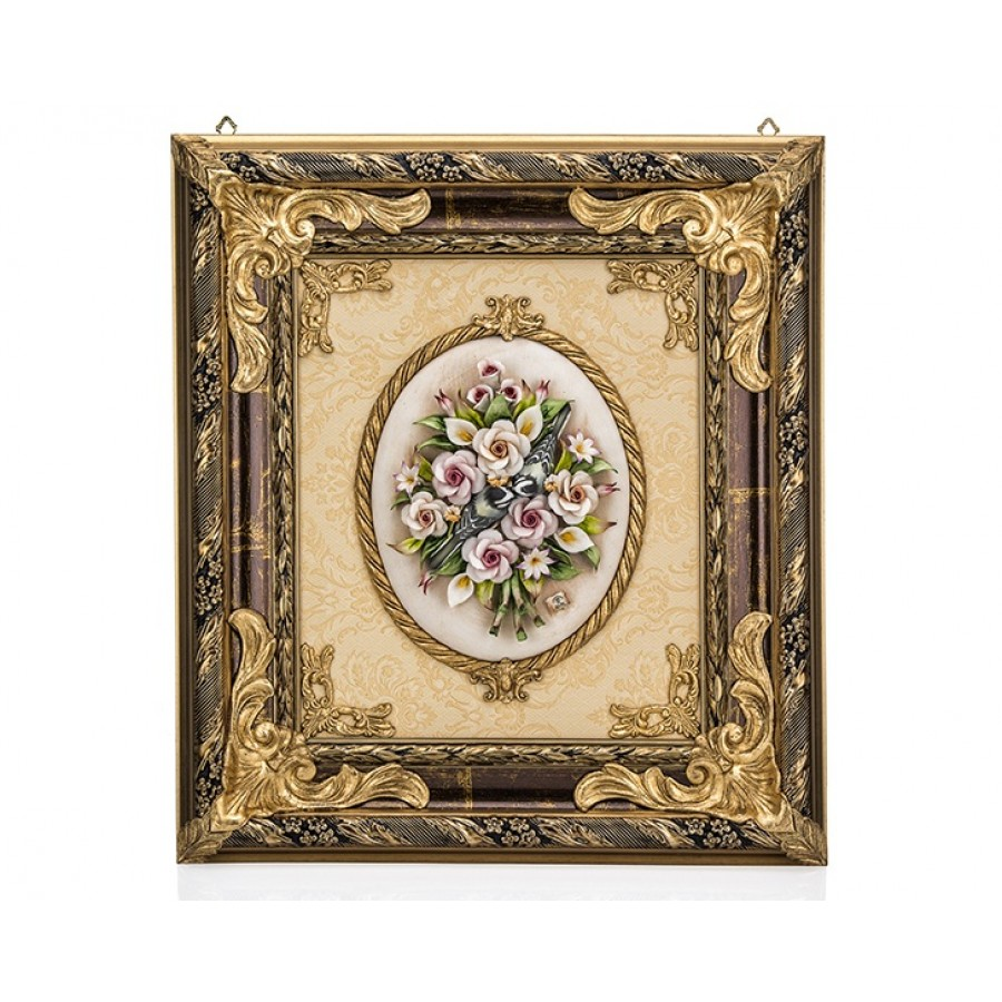 PR01-1005 - Çiçekli Altın Dikdörtgen Tablo 68*60