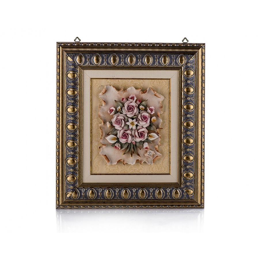PR01-1018 - Çiçekli Altın Dikdörtgen Tablo 53*48