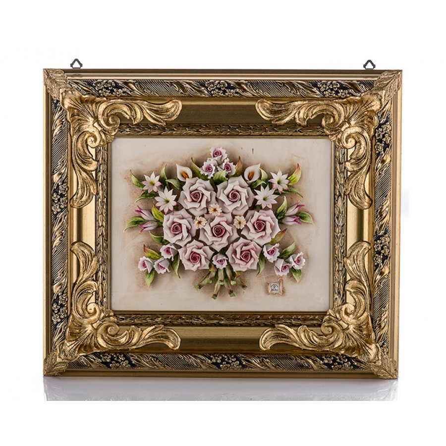 PR01-1019 - Çiçekli Altın Dikdörtgen Tablo 60*51