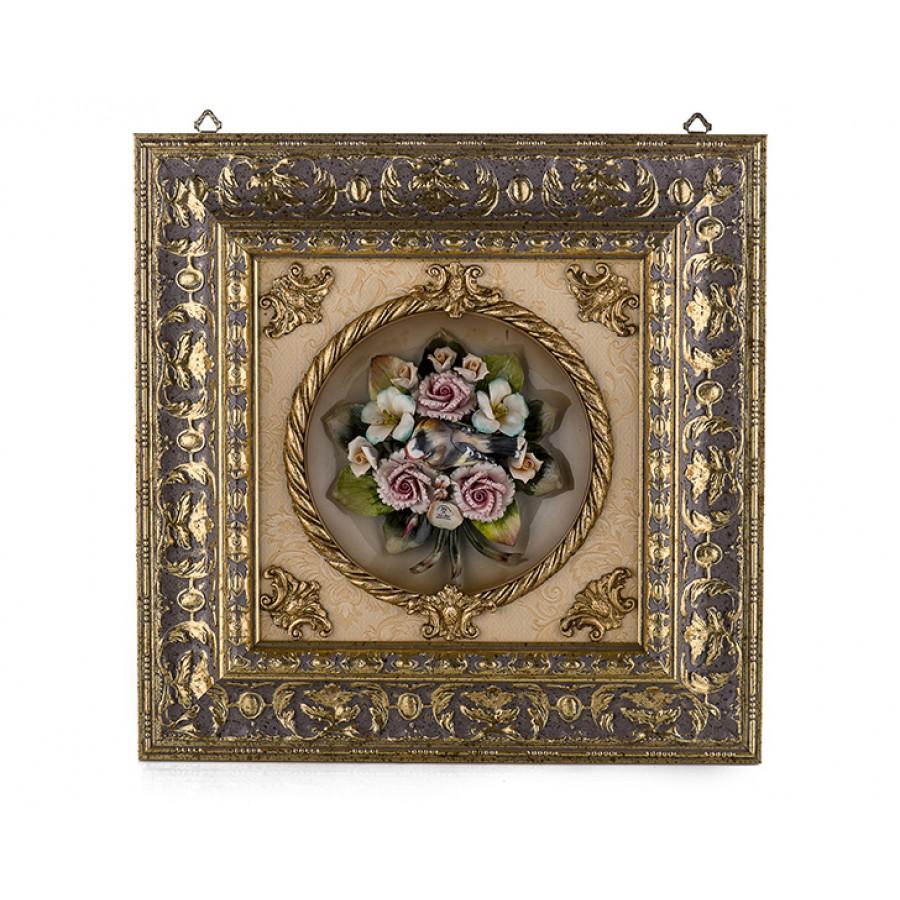 PR01-1021 - Çiçekli Altın Kare Tablo 45*45
