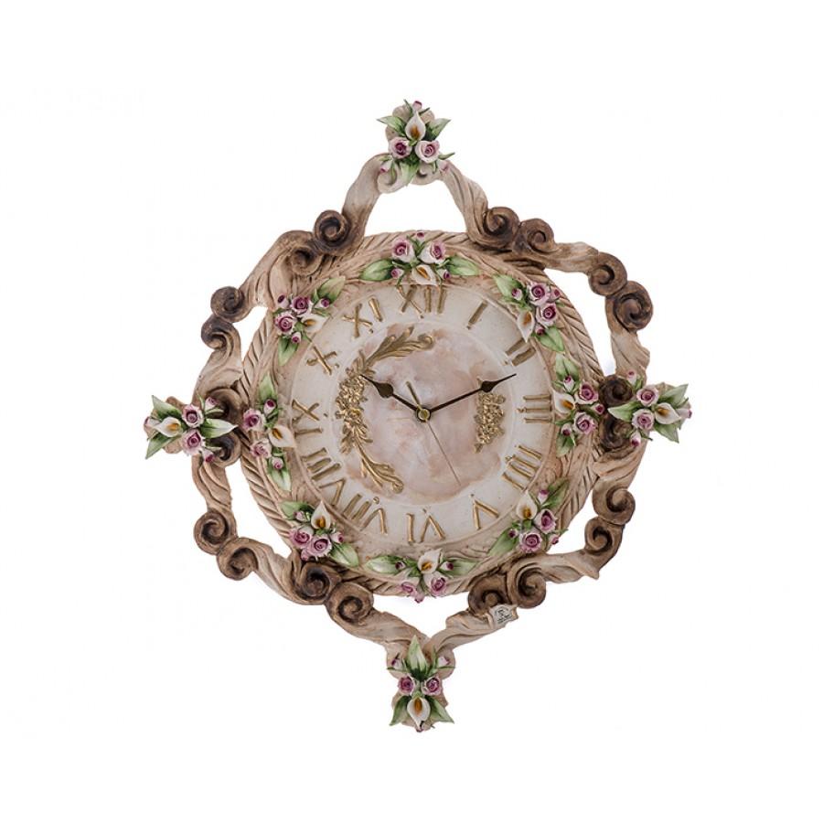PR01-1028 - Çiçekli Yuvarlak Duvar Saati 35*35