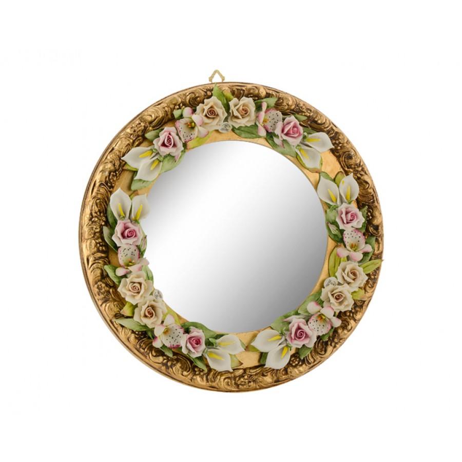 PR01-1045 - Çiçekli Altın Yuvarlak Ayna 38*38