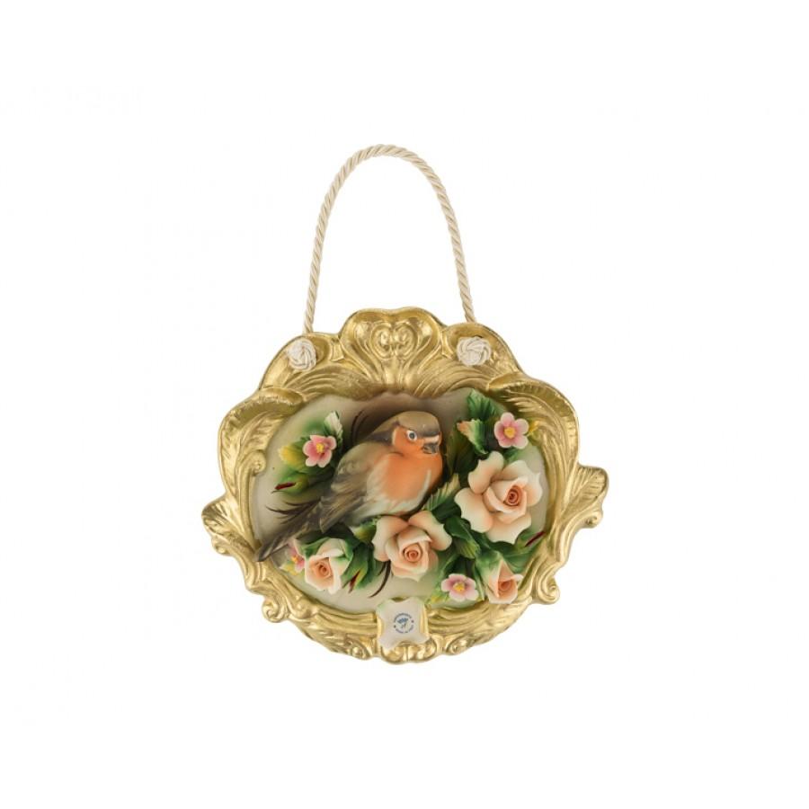 PR01-1047 - Askılı Çiçekli Kuşlu Oval Duvar Süsü 20*18