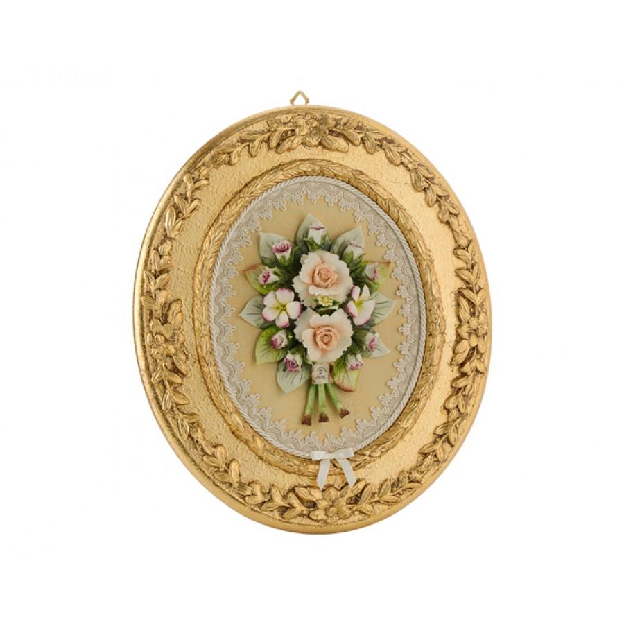 PR01-1052 - Çiçekli Dantelli Altın Oval Tablo 37*42