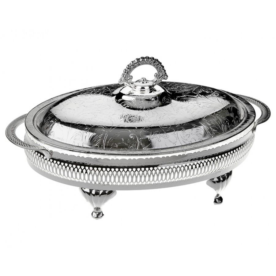 PR04-1018 - Gümüş-Cam 4 Bölmeli Kulplu Kapaklı Servis 34*19