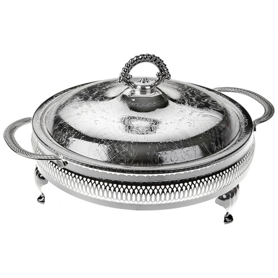 PR04-1019 - Gümüş-Cam 5 Bölmeli Kulplu Kapaklı Servis 25*25