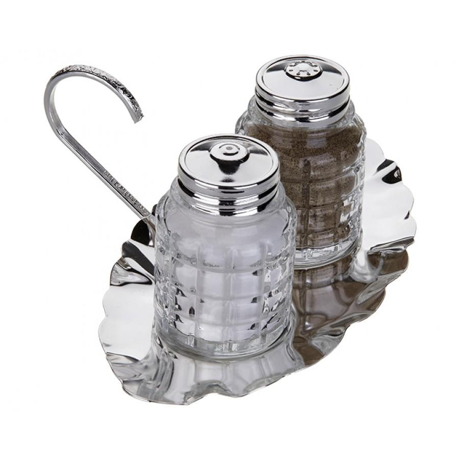 PR04-1061 - Gümüş Alt Tabaklı 2li Baharat Seti 18*13