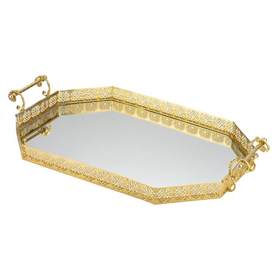 PR05-1012 - Altın Aynalı Büyük Boy Tepsi 75*44