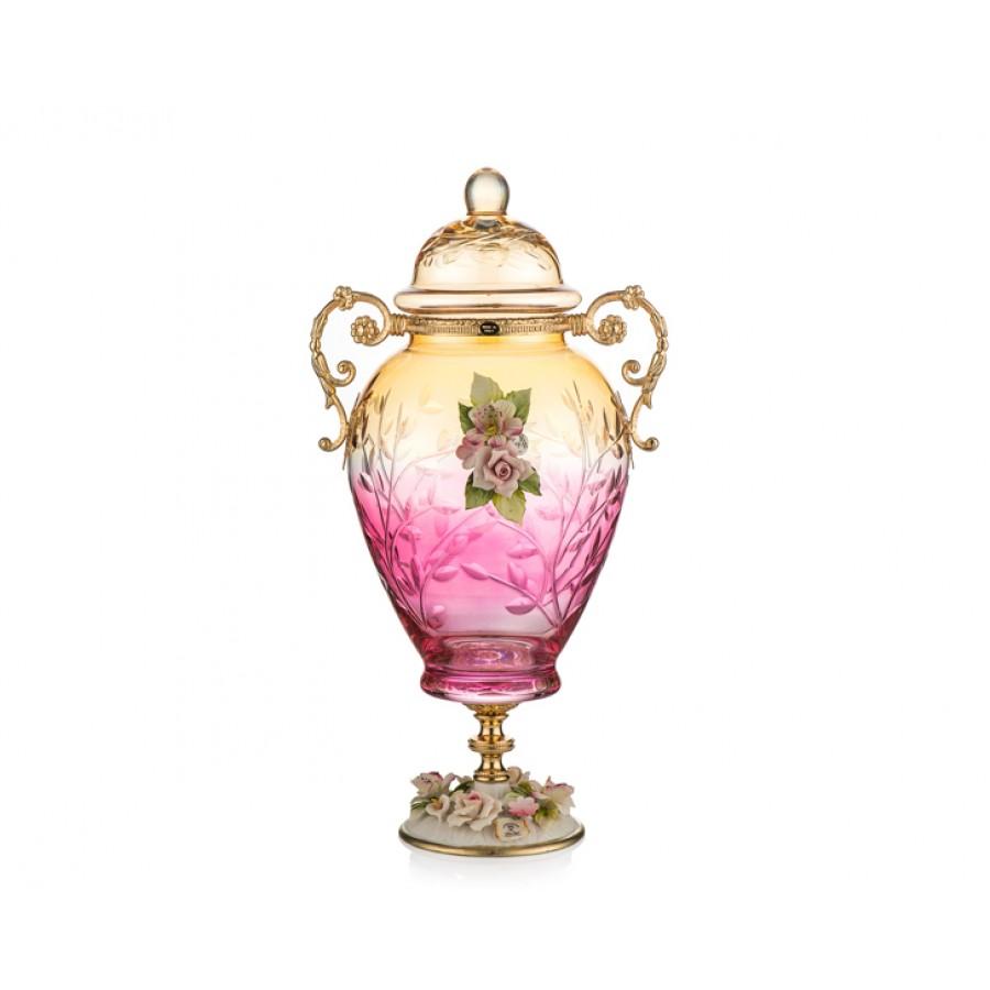 PR05-1059 - Amber-Pembe Altın Kapidemonteli Kapaklı Küp 44*25