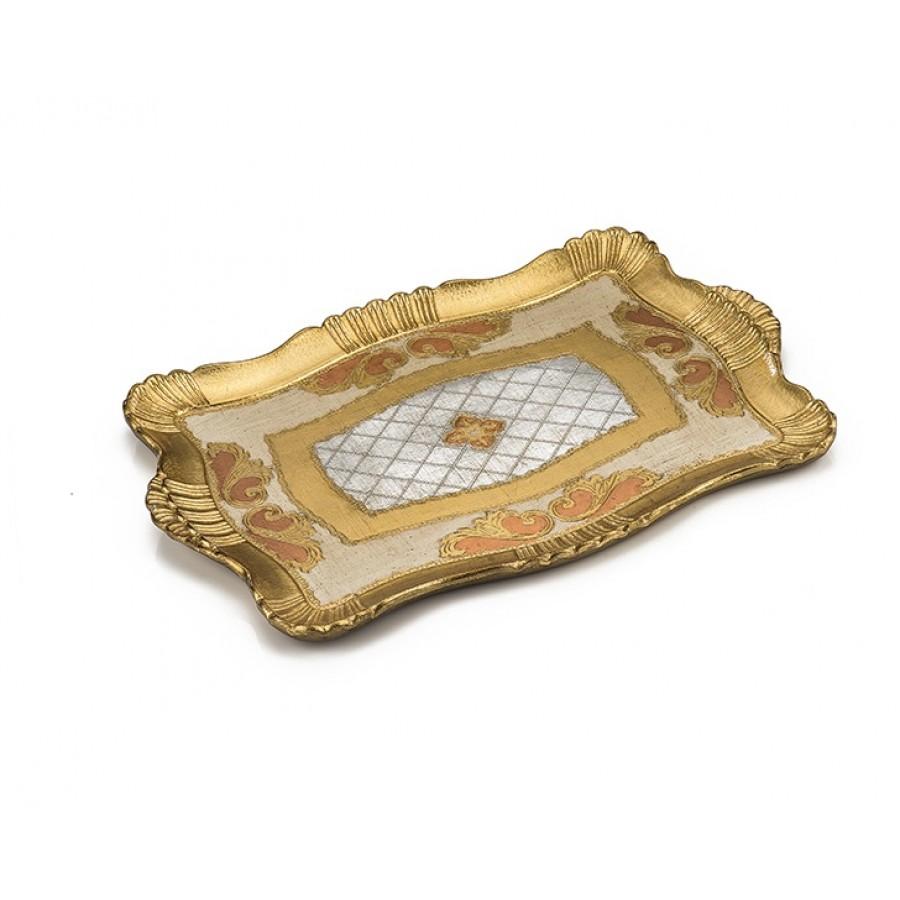 PR06-1024 - Altın Varaklı Gri-Pembe Küçük Boy Tepsi 34*48