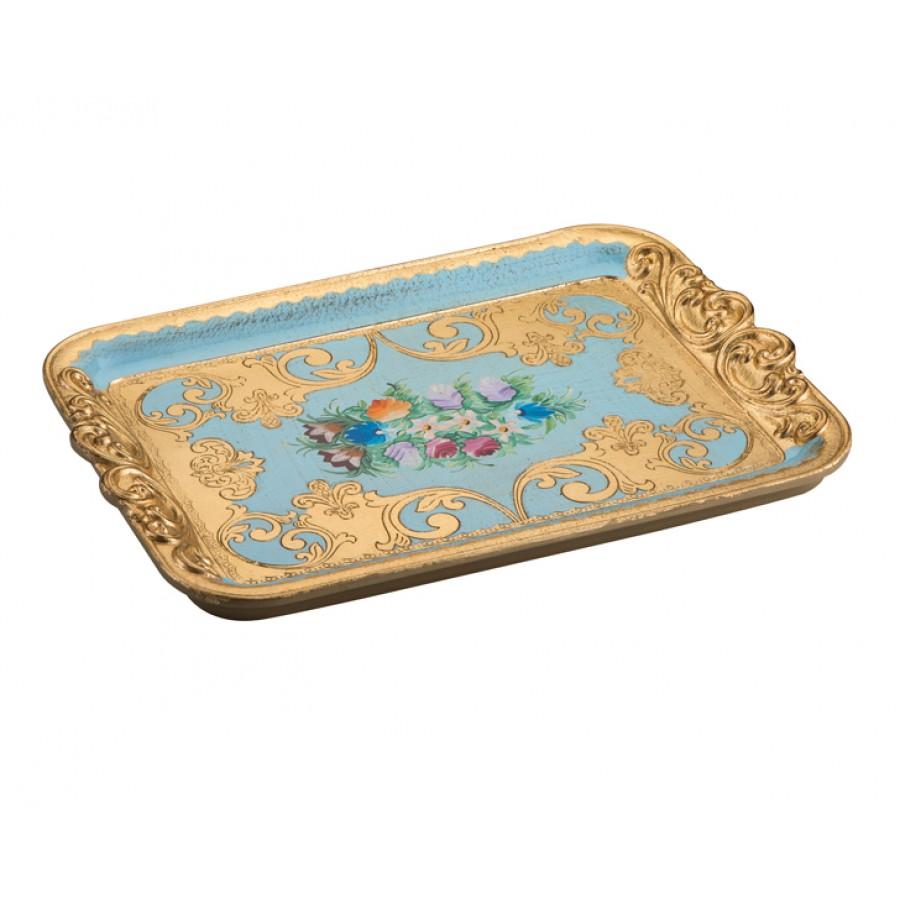PR06-1042 - Altın Varaklı Çiçek Desenli Mavi Tepsi 32*45