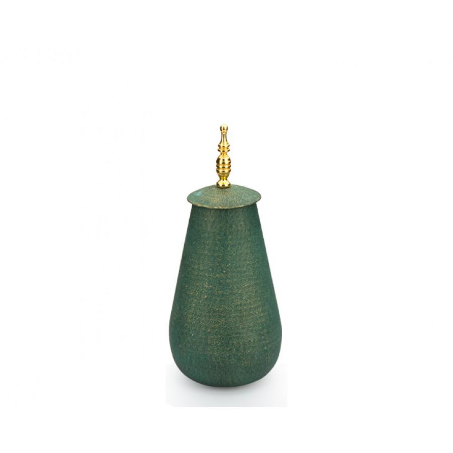 PR10-1004 - Altın Saplı Yeşil Kapaklı Küp 43cm