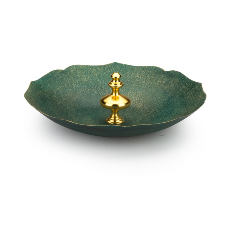 PR10-1007 - Altın Saplı  Yeşil Dekoratif Tabak 38cm