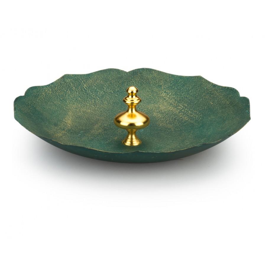 PR10-1008 - Altın Saplı  Yeşil Dekoratif Tabak 43cm