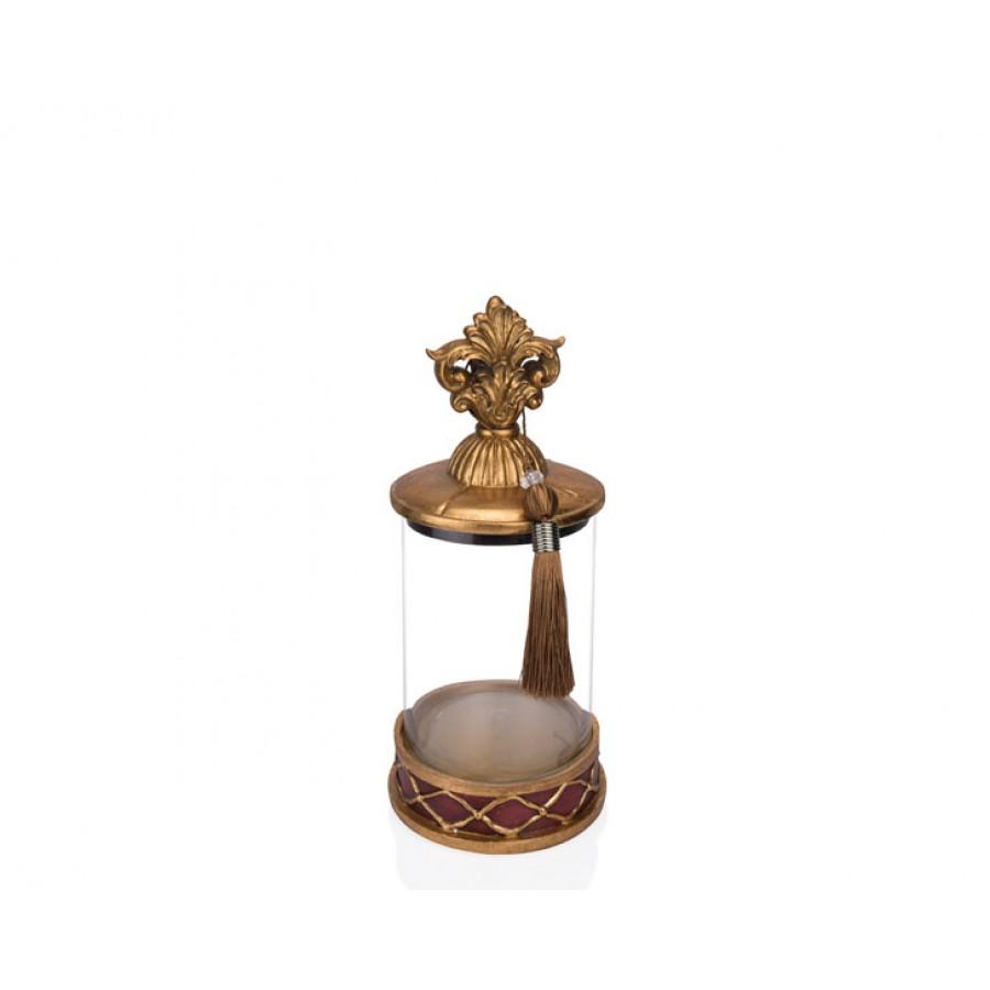 PR12-1040 - Altın Bordo Cam Dekoratif Kavanoz 15*15*31