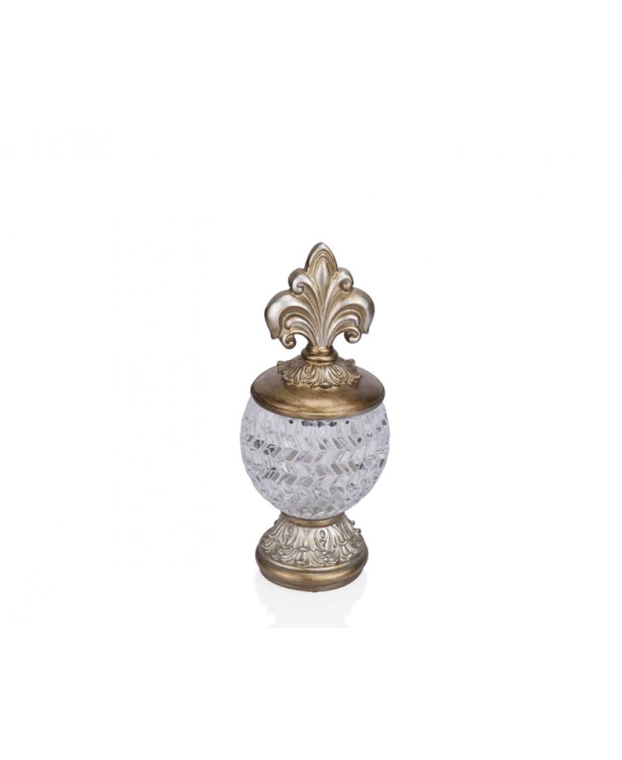 PR12-1060 - Altın Çizgili Camlı Dekoratif Kavanoz 12*12*27