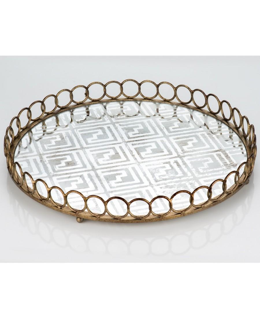 PR13-1015 - Eskitme Desen Aynalı Metal Yuvarlak Tepsi 46*46