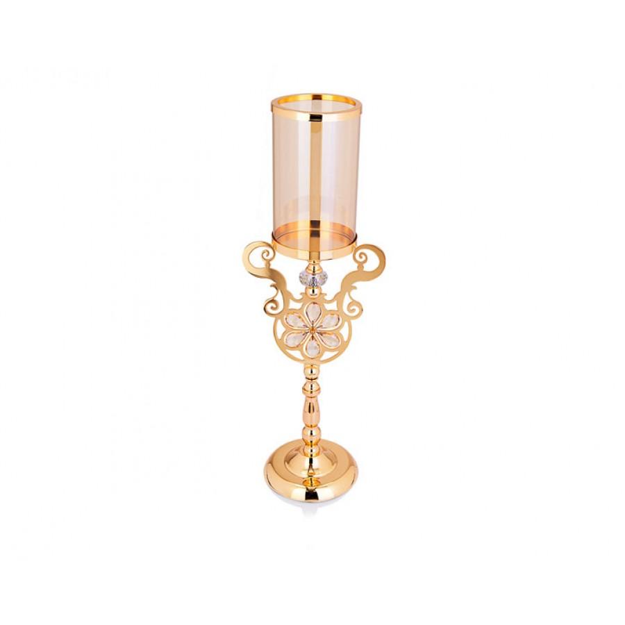 PR14-1036 - Altın Çiçek Detaylı Amber Camlı Mumluk 21*15*60