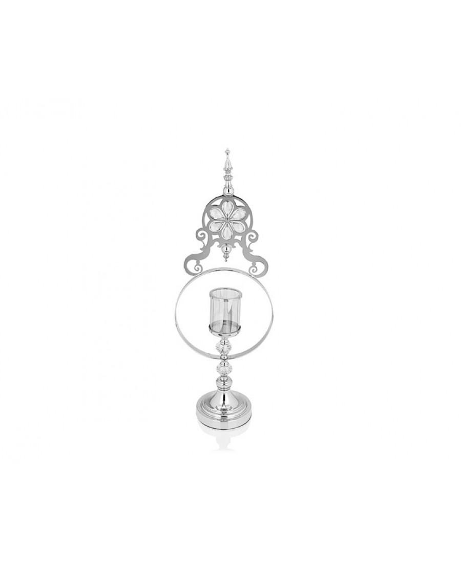 PR14-1095 - Gümüş Çiçek Detaylı Amber Camlı Mumluk 15*25*70