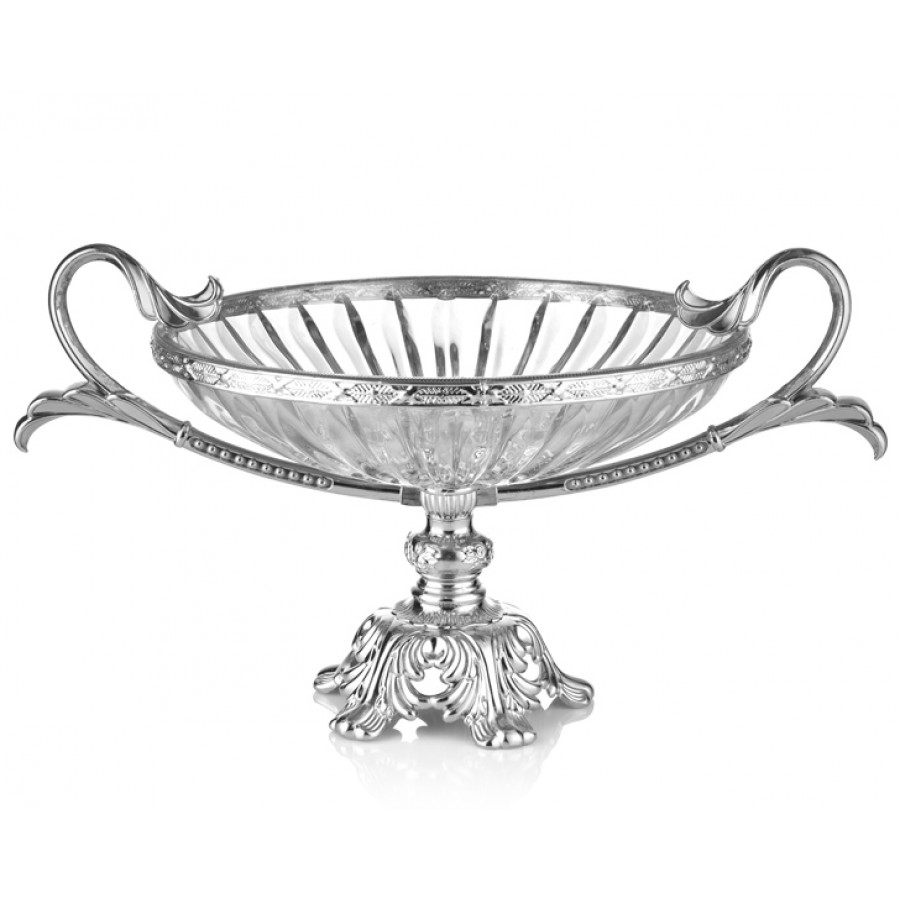 PR16-1008 - Gümüş Ayaklı Cam Meyvelik 48*31*24