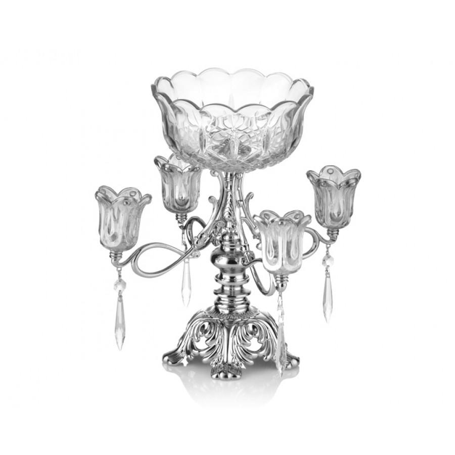 PR16-1014 - Gümüş Ayaklı Cam 4lü Mumluk ve Meyvelik 25*24*32