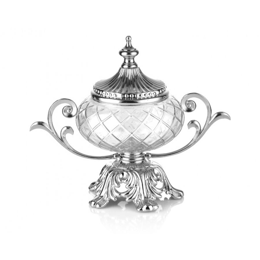 PR16-1016 - Gümüş Ayaklı Kapaklı Cam Şekerlik 28*16*21