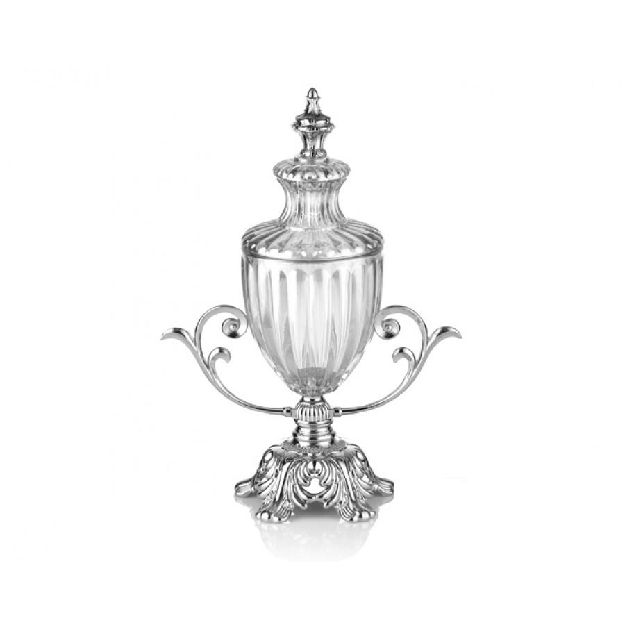 PR16-1018 - Gümüş Ayaklı Cam Kapaklı Şekerlik 27*13*35