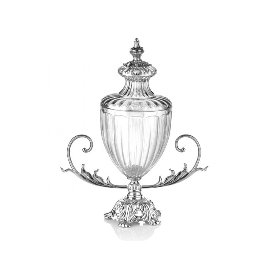 PR16-1020 - Gümüş Ayaklı Cam Kapaklı Şekerlik 33*18*45