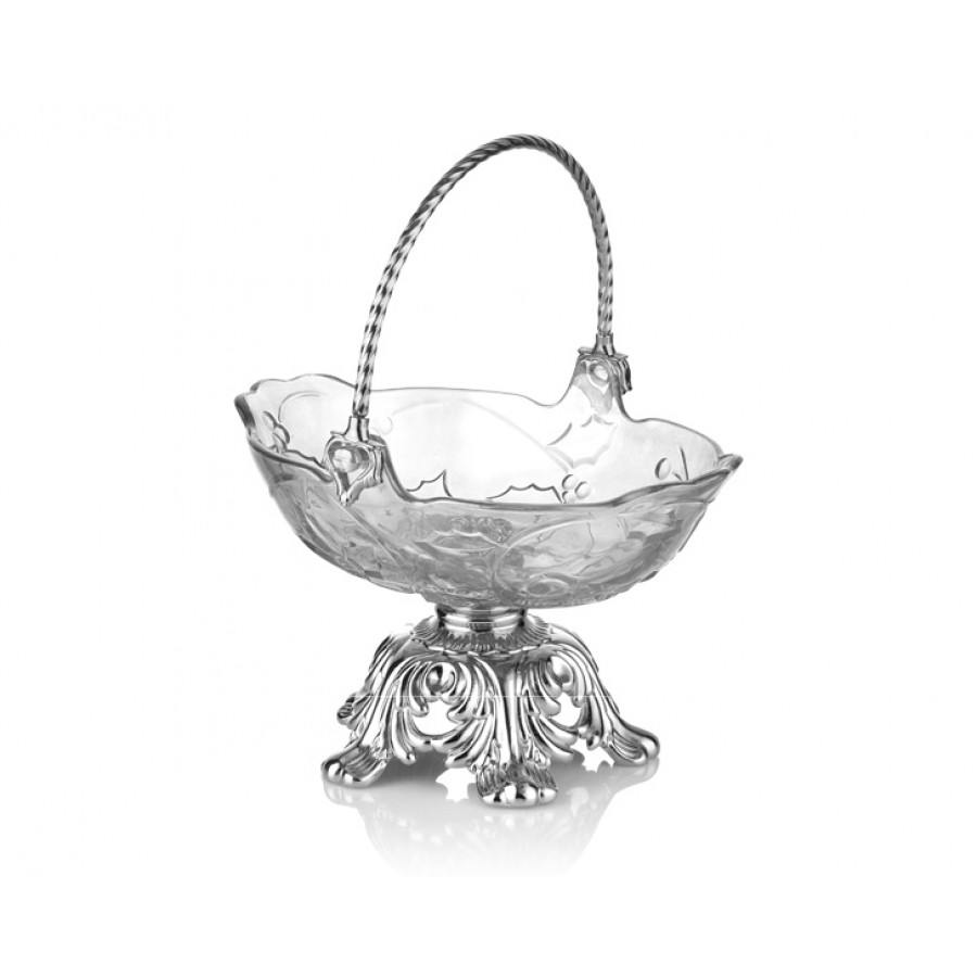 PR16-1022 - Gümüş Ayaklı Cam Şekerlik 24*19*15