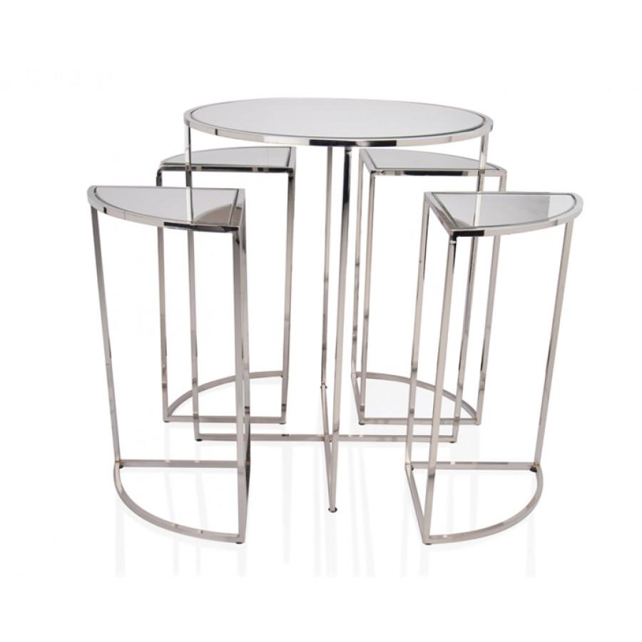 PR18-1008 - Gümüş Aynalı 5li Orta Sehpa 50*50*60