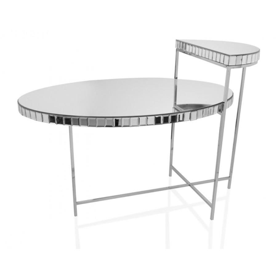 PR18-1012 - Gümüş Aynalı 2 Katlı Sehpa 88*52*63