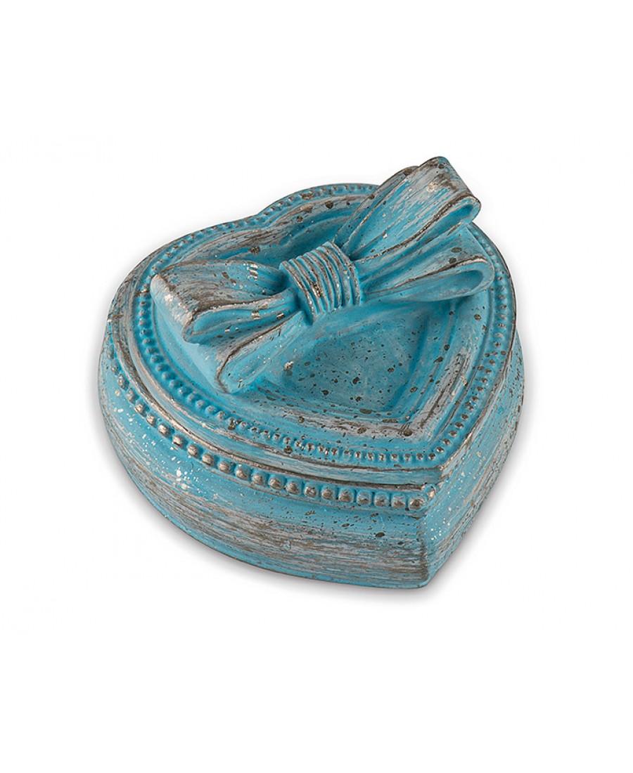 Pr30-1034-Mavi  Kurdeleli Kalpli Mücevher Kutusu 7*6