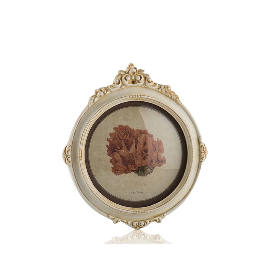 PR30-1075 - Krem Çerçeveli Çiçek Resimli Pano 22*20