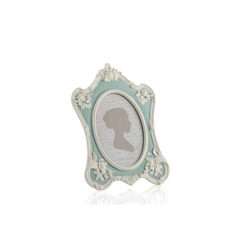 PR30-1099 - Mavi Renk Beyaz Güllü Oval Çerçeve 10*15