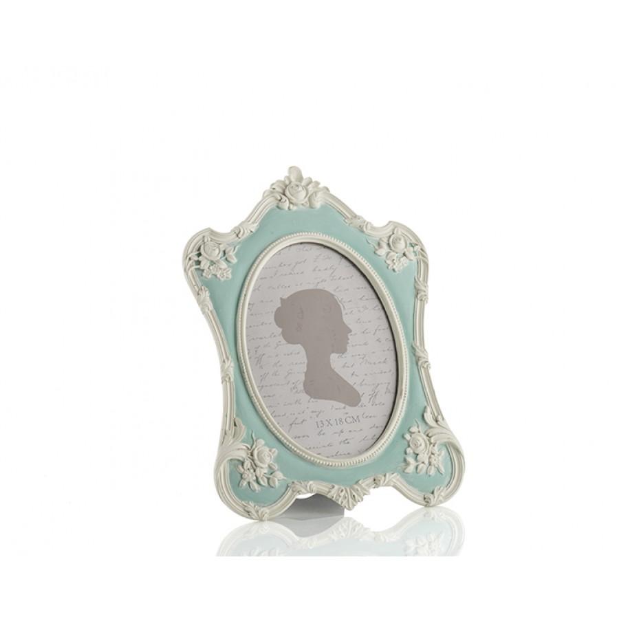 PR30-1100 - Mavi Renk Beyaz Güllü Oval Çerçeve 13*18
