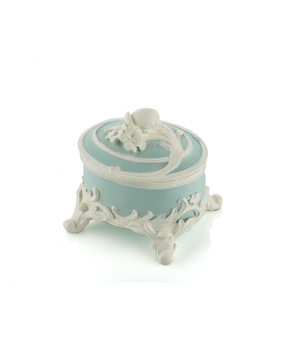 PR30-1103 - Mavi Renk Beyaz Güllü Mücevher Kutusu 11*11