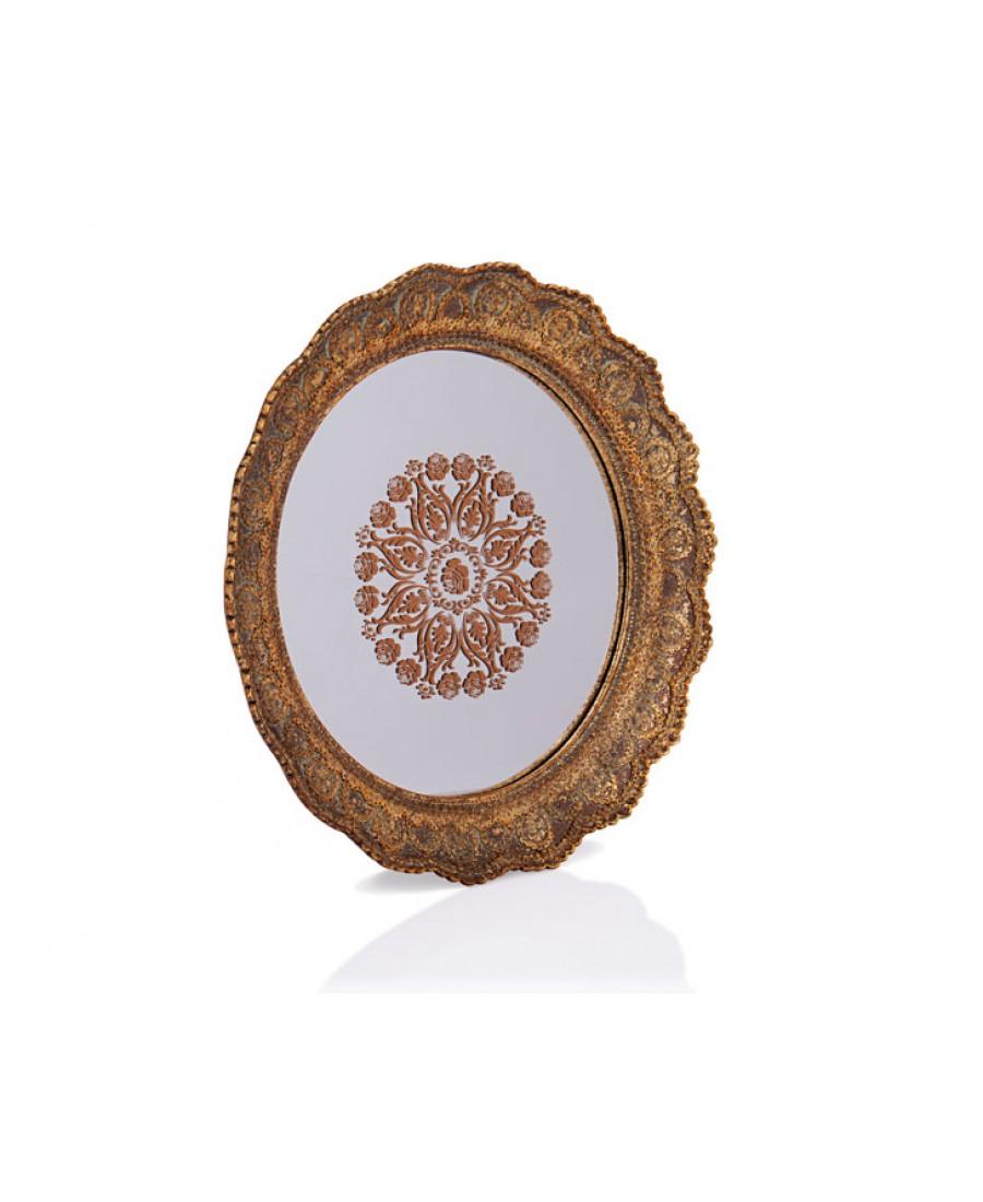 PR32-1047 - Altın Dantel İşlemeli Yuvarlak Aynalı Tepsi 40*40