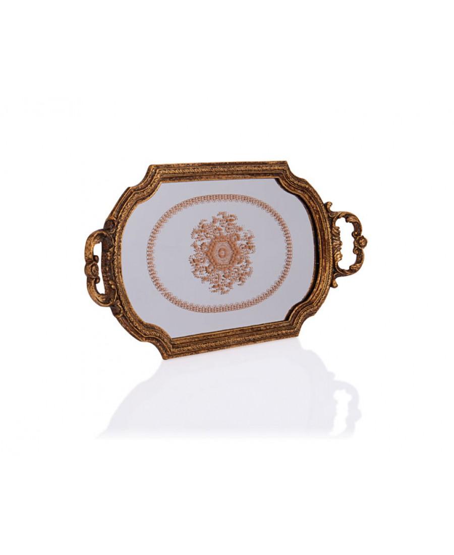 PR32-1050 - Altın Kulplu Küçük Aynalı Tepsi 42*22