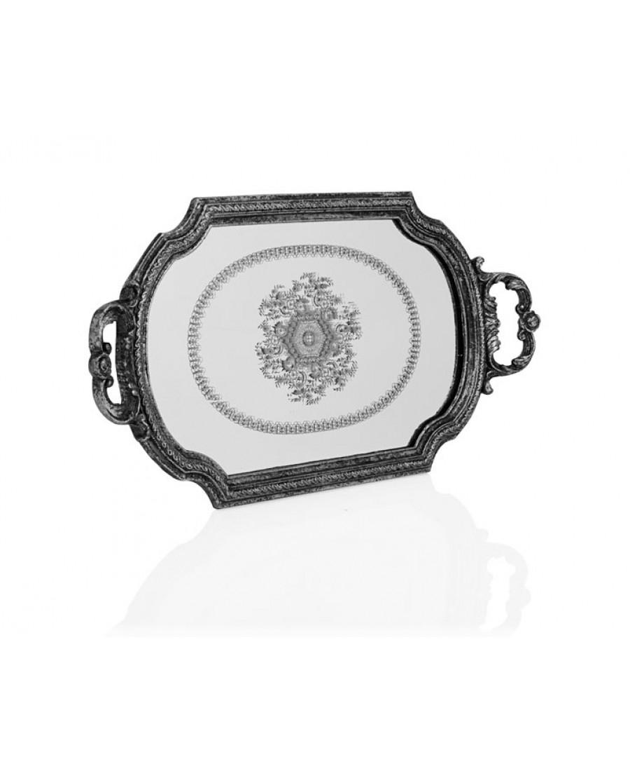 PR32-1053 - Gümüş Kulplu Büyük Aynalı Tepsi 49*28