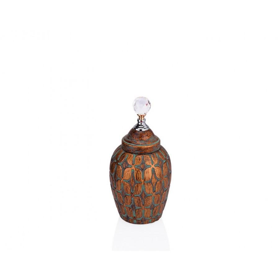 PR33-1007 - Kristal Kulplu Kahverengi Dekoratif Kavanoz 14*30